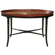 19th C Tole Tray Table on Regency Style Stand   From a unique collection of antique and modern tray tables at http://www.1stdibs.com/furniture/tables/tray-tables/