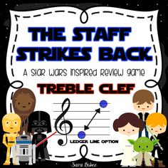 Star Wars-themed treble clef practice with follow along worksheets!