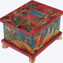 We are pleased to offer FREE shipping on all Sticks items.    This beautiful Recipe Box, handcrafted by the talented Artisans at Sticks, makes a very thoughtful and personal gift and is the perfect countertop addition to any kitchen. Features a hand carved handle on the top and a gorgeous desig...