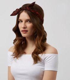 Dark Red Snakeskin Print Wire Headband