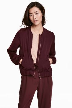 Satin bomber jacket - Burgundy - Ladies | H&M GB 1