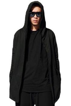Hooded Drawstring Solid Color Long Sleeve Lengthen Coat For Men