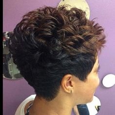 Hair Beauty - Classic cut ✂ and color styled by Greensboro, NC stylist teaze_styling_studio Short Permed Hair, Short Grey Hair, Short Hair With Layers, Curly Hair Cuts, Short Hair Cuts For Women, Curly Hair Styles, Curly Pixie Haircuts, Cute Hairstyles For Short Hair, Permed Hairstyles