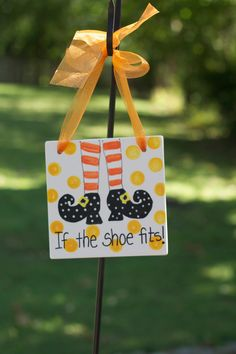 """cute for halloween!  """" If the shoe fits"""" poster of Halloween witch's legs with witch shoes."""