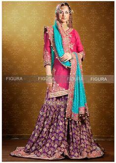 Hyderabadi muslim bridal garara for lavish hyderabadi wedding Pakistani Bridal Lehenga, Pakistani Formal Dresses, Indian Dresses, Indian Outfits, Desi Wedding Dresses, Party Wear Dresses, Bridal Dresses, Engagement Dress For Bride, Sharara Designs
