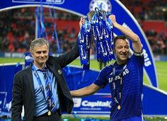 1 March 2015: CHELSEA boss JOSE MOURINHO and captain JOHN TERRY lift the Capital One Cup...