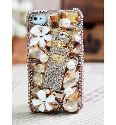 iPhone 5 4S 4G 3GS Pearl Crystals Flower Case 3d Iphone Cases, Iphone 4s, Apple Iphone, Crystal Flower, Iphone Accessories, Ipod Touch, Technology Innovations, Pearls, Crystals