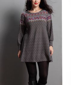 Another great find on #zulily! Gray Border Scoop Neck Tunic - Plus #zulilyfinds
