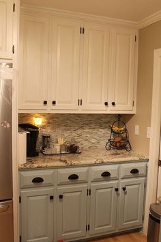 Kitchen Renovation - idea! love the light blue & grey w/ white above - cka