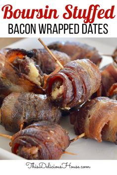 Bacon Wrapped Dates stuffed with Boursin cheese! Just 3 ingredients to make these incredibly flavorful bacon wrapped dates, the perfect party appetizer! #baconwrappedates #boursincheese