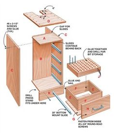 AW Extra - Drill Press Cabinet - Woodworking Projects - American Woodworker - make this drawer for my drill bits Woodworking Drill Press, Woodworking Skills, Woodworking Magazine, Woodworking Plans, Woodworking Projects, Drill Press Stand, Drill Press Table, Tool Stand, Shop Storage