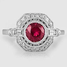 Sapphire Ostara Diamond Ring (1/4 ct. tw.) in 18K White Gold, 6mm Round Pink Sapphire