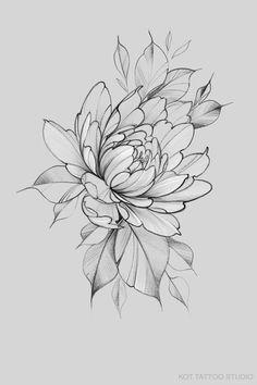 Lotusblume Tattoo, Tattoo Outline, Mandala Tattoo, Peony Drawing, Floral Drawing, Peony Painting, Floral Tattoo Design, Flower Tattoo Designs, Flower Tattoo Stencils