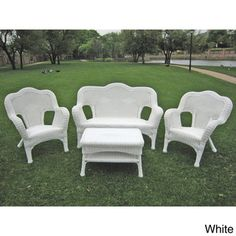 $581 - 4pc set Constructed from durable steel with the elegant look of real wicker, this set is strong enough to withstand regular outdoor use