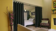 Our wide selection of Room Divider Kits aren't just great for creating privacy. Our wide selection of Room Divider Kits aren't just great for creating privacy in apartments. Studio Apartment Room Divider, Room Divider Ideas Bedroom, Small Room Divider, Office Room Dividers, Studio Apartment Design, Room Divider Curtain, Studio Apartment Decorating, Bedroom Decor, Kit S