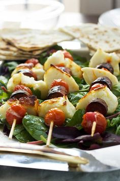 Skewers of crisp halloumi cheese, chorizo & cherry tomatoes, all drizzled with a tangy honey-lime dressing.