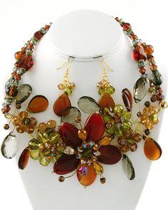 Gold tone/Brown Semi-precious stones.  Topaz AB Glass crystal accents.  Beautiful !!!