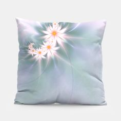 White fractal daisies pillow. White and pink fractal flowers on a pastel green, blue and violet background.