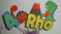 Set of 5 Dinosaur Theme Centerpieces, Dinosaur Party Decor, Dinosaur Baby Shower, Dinosaur Birthday, First Birthday, Personalized Name on Etsy, $11.98