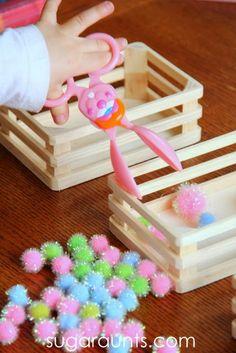Bunny themed scissor sills activity using tongs