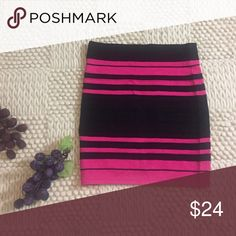 Sparkle and Fade skirt New without tags. Black and pink stripe bodycon knit skirt. Urban Outfitters Skirts Mini
