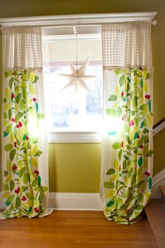 love these homemade curtains.  Polka dot chenille on top, ikea leaf curtains on the bottom. // whatever