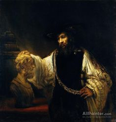 Rembrandt van Rijn (Dutch, Leiden Amsterdam) Aristotle with a Bust of Homer 1653 Oil on canvas x at the Metropolitan Museum of Art, New York. Leiden, Metropolitan Museum, Painting Frames, Painting Prints, Art Prints, Rembrandt Paintings, Rembrandt Art, Tableaux Vivants, Dutch Golden Age
