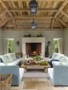A massive limestone mantel on the loggia surrounds a fireplace large enough to warm autumn's chilly nights.