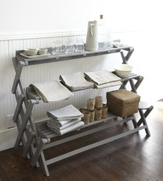 repurposed folding rack - this maybe a good idea if you do craft shows