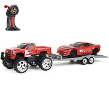 1:24 R/C Cruiser Play Set with Trailer & Ca - Red Chevy Corvette & Silverado