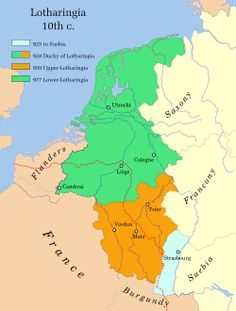 Lothair died in 869 and the kingdom fragmented into duchies and counties. By 925 Otto I of Germany conquered the area. He created the duchy of Lotheringia and gave it to his brother Bruno. Bruno divided the duchy into Upper and Lower Lorraine.  In time Lower Lorraine became a patchwork of duchies, counties and lordships. Upper Lorraine fared a little better and became our duchy of Lorraine.