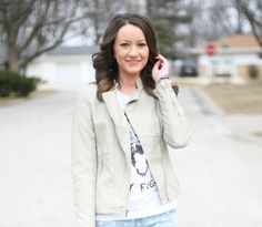graphic tee + leather jacket - www.lovelucygirl.com