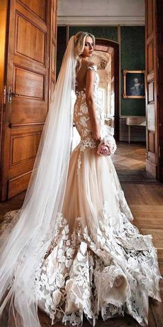 Milla Nova Wedding Dresses, mermaid lace with sleeves cappuccino open back milla nova wedding dresses #weddingdress #mermaidweddingdress #laceweddingdresses