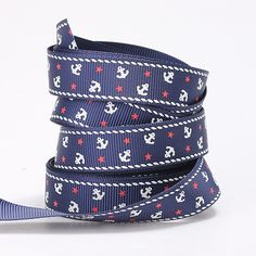 I have some of this lovely 16mm grosgrain ribbon with cute little anchors!