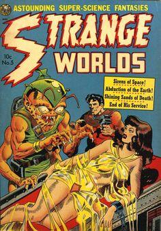 Strange Worlds N°5 (January 1952) - Cover art by Wally Wood/  #vintagehorrorscifi