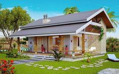 Fachadas de casas pequenas e modernas: 100 fotos lindas e inspiradoras Roof Design, Exterior Design, House Design, Garage Ouvert, House Construction Plan, Kerala Houses, Cottage Design, Dream House Plans, Facade House