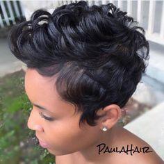 Short Sassy Haircuts, Short Black Hairstyles, Short Hair Cuts, Short Hair Styles, Pixie Styles, Pixie Cuts, Short Pixie, Dope Hairstyles, Pixie Hairstyles