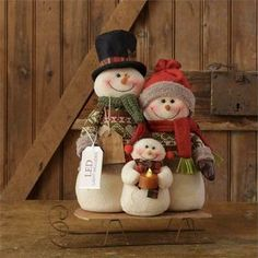"New Primitive Folk Art SNOWMAN DOLL FAMILY Candle Light Wood Sleigh Sled 16"" #Primitive"