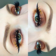 orange eye make up, winged eyeliner, yellow eyeliner Pretty Makeup, Love Makeup, Makeup Inspo, Simple Makeup, Makeup Goals, Makeup Tips, Makeup Ideas, Makeup Meme, Farmasi Cosmetics