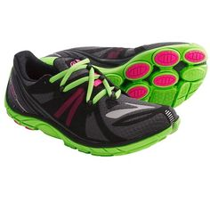 Brooks PureConnect 2 Running Shoes - Minimalist (For Women) in Anthracite/Knockout Pink/Green Gecko