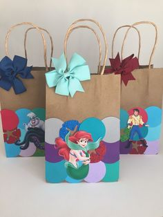 Ariel party bag Little mermaid iofavor bag mermaid favor image 6 Little Mermaid Gifts, Little Mermaid Birthday, Little Mermaid Parties, The Little Mermaid, 4th Birthday Parties, 1st Birthday Girls, Homemade Gift Bags, Mermaid Coloring Pages, Party Bags