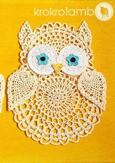 Owls Trio Modern Cottage Chic Nursery Crochet Art by krokrolamb,