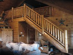 Log staircase built by my Dad and Jerry Byrd (dad of country singer Tracy Byrd)....written by Laurie {Dewdrop Jewelry} Baker