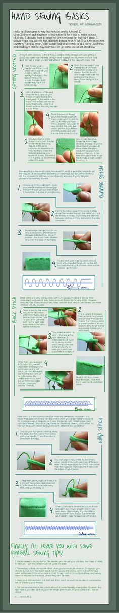 Hand Sewing Basics - Tutorial by =otohime0394 on deviantART