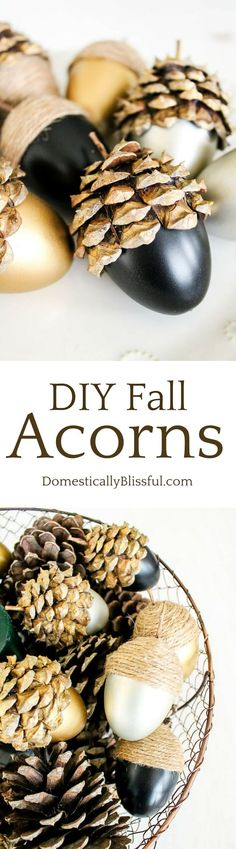DIY Fall Acorns tutorial by Domestically Blissful - would make cute packaging for small gift items.