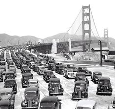 San Fancisco Architecture : Opening of the Golden Gate Bridge – Explore the World with Travel Nerd Nici, o… San Francisco Bay, San Francisco California, Old Pictures, Old Photos, San Fernando Valley, San Pablo, Golden Gate Bridge, Historical Photos, 1940s