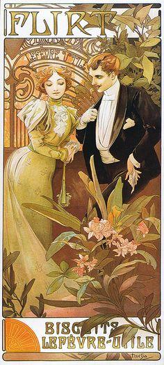 biscuits lefevre-utile, flirt, c.1895, alphonse mucha Love his work...