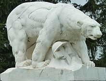"August 3, 1918-President Wilson agrees to co-operate with Allies in sending ""volunteer"" troops into Russia. Polar Bear Monument in White Chapel Cemetery, Troy, Michigan, by sculptor Leon Hermant."