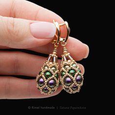 Купить «Asti Faberge» серьги. Жемчуг Swarovski, японский бисер - серьги золотые, Серьги капли