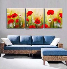 Poppy Flower Painting, Oil Painting Flowers, Abstract Flowers, 3 Canvas Paintings, Oil Painting On Canvas, 3 Panel Wall Art, Easy Canvas Art, Acrylic Painting Lessons, Africa Art